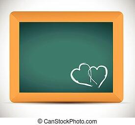 heart illustration on a chalkboard.