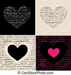 Heart illustration set. Love. Vector background.