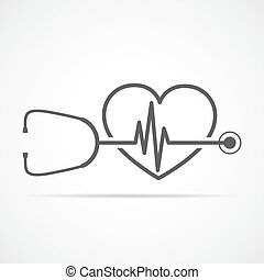 heart., illustration, signe, vecteur, pulsation, stéthoscope