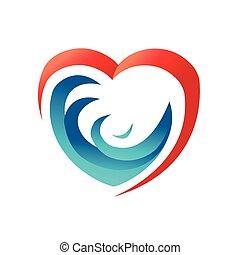 heart illustration - waves in heart symbol, ocean in harts,...
