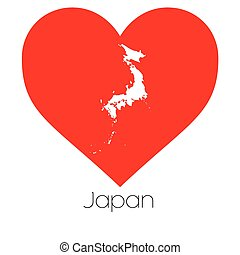 Heart illustration with the shape of Japan