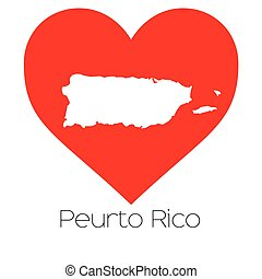 Heart illustration with the shape of Puerto Rico