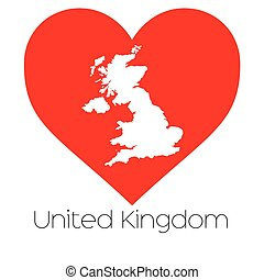 Heart illustration with the shape of United Kingdom