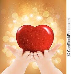 heart., illustrazione, fondo., vettore, fidanzato, tenere mani, giorno, rosso