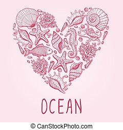 heart., ilustración, océano, dibujado, mano, original