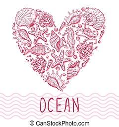 heart., ilustracja, ocean, pociągnięty, ręka, oryginał