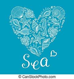 heart., ilustracja, ręka, morze, pociągnięty, oryginał