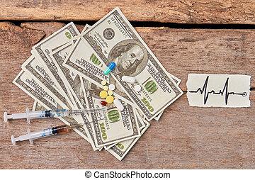 Heart impulses image, drugs, money.