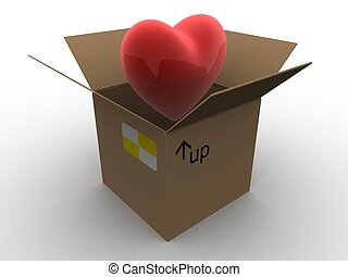 heart in a box - 3d rendered illustration of a red heart in...