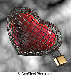 Heart in a cage with a padlock.