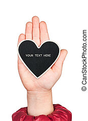 Heart in a child's hand with space for your text