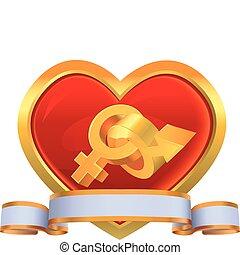 Heart in a gold framework