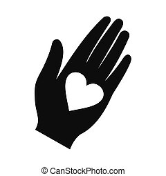 Heart in a hand black simple icon