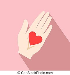 Heart in a hand flat icon