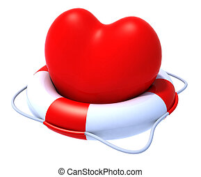 heart in a lifesaver, 3d illustration