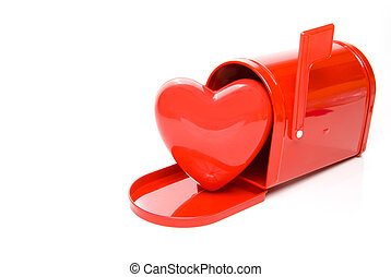 Heart in a Mailbox - A red heart in a postal mailbox.