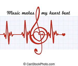 Heart in a musical clef with cardiogram. Music makes my heart beat quote. Vector abstract art sign