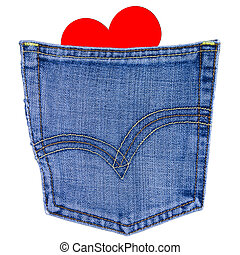 heart in back jeans pocket isolated on white