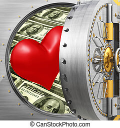 Heart In Bank Vault - 3D Concept And Presentation Figure