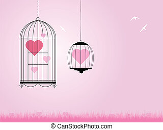heart in bird cages