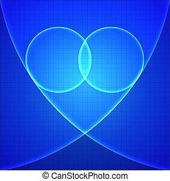 Heart in blue light