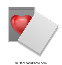 Heart in box on a white background. Vector illustration.
