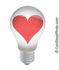 heart in bulb illustration design