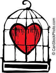 Heart in Cage - heart in a birdcage being held captive.
