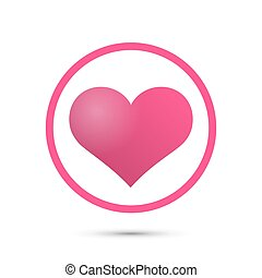 Heart in circle sign red icon, Vector illustration
