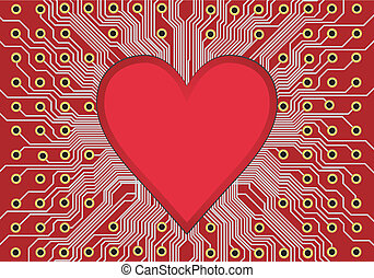 Heart in circuit board