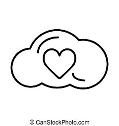Heart in cloud line icon, outline vector sign, linear style pictogram isolated on white. Love and valentine's day symbol, logo illustration.