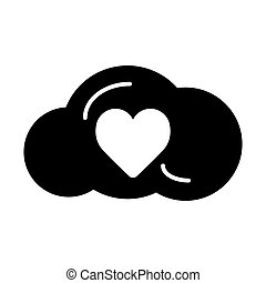 Heart in cloud line icon, solid vector sign, linear style pictogram isolated on white. Love and valentine's day symbol, logo illustration.