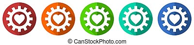 Heart in cogwheel vector icon set, red, blue, green and orange flat design web buttons isolated on white, vector illustration