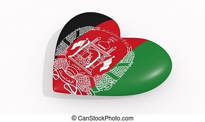 Heart in colors and symbols of Afghanistan on white background
