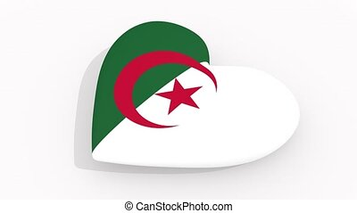Heart in colors and symbols of Algeria on white background,...