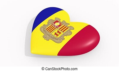 Heart in colors and symbols of Andorra on white background,...