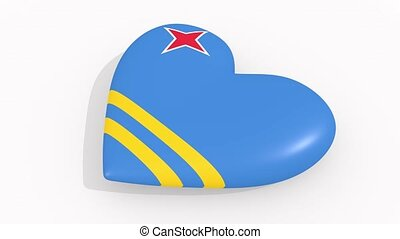 Heart in colors and symbols of Aruba on white background,...
