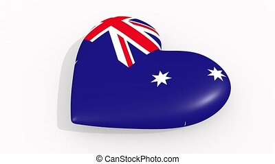Heart in colors and symbols of Australia on white...