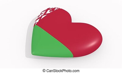 Heart in colors and symbols of Belarus on white background,...