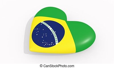 Heart in colors and symbols of Brazil on white background, loop