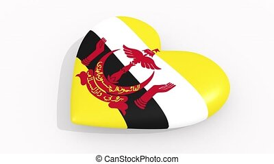 Heart in colors and symbols of Brunei on white background,...