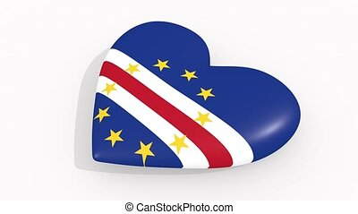 Heart in colors and symbols of Cape Verde on white...