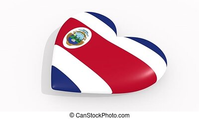 Heart in colors and symbols of Costa Rica on white...