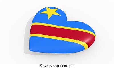 Heart in colors and symbols of Democratic Republic of Congo...