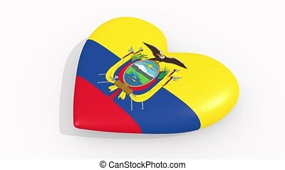 Heart in colors and symbols of Ecuador, loop - Heart in...