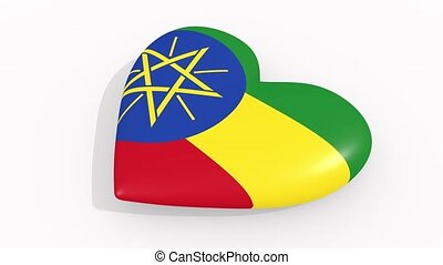 Heart in colors and symbols of Ethiopia, loop - Heart in...