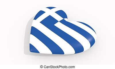 Heart in colors and symbols of Greece, loop - Heart in...