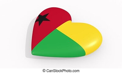 Heart in colors and symbols of Guinea-Bissau, loop - Heart...