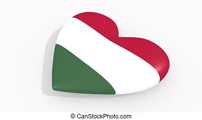 Heart in colors and symbols of Hungary, loop - Heart in...