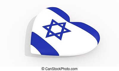 Heart in colors and symbols of Israel, loop - Heart in...